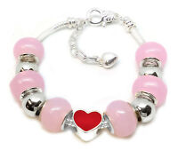 925 Sterling Silver Snake Chain Bracelet And Pink - Silver Beads Red Heart