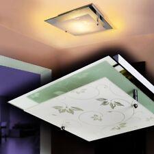 Lámpara de techo con espejo pantalla cristal blanco diseño floral salón cocina