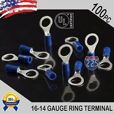 """100 PACK 16-14 Gauge 5/16"""" Stud Insulated Vinyl Ring Terminals Tin Copper Core"""