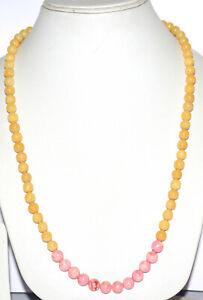 "Yellow Jade Gemstone 925 Fine Silver 8-8.5 mm Round Beads 12-40"" Strand Necklace"