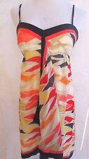 BCBG Max Azria  Dress Sz 8 Silk Multi Colorl Spaghetti Strap Lined  S