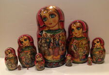 """Russian Nesting Doll 10 pcs Fedoskino Style """"Little Red Riding Hood"""" 10"""" H"""