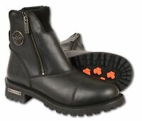 Mens Black Leather Clean Laceless Boots w Double Zippers