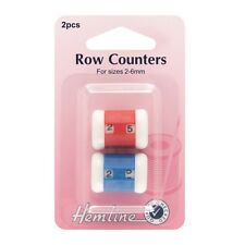 Hemline 2 - 6mm Knitting Row Counters Red And Blue