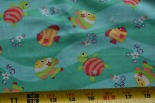 """24"""" Long, Tropical Fish & Turtles on Green Quilt Fabric, N4609"""