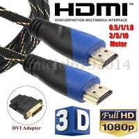 Con Adaptador DVI HDMI Cable V1.4 AV HD 3D Para PS3 Xbox 360 HDTV 0.5-10 Metros