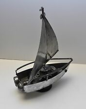Rare Metal Boat Yacht Sculpture Folk Art Handmade Scrap Car Parts Real Steel