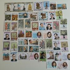 More details for 100 different chess & chess players stamps collection