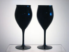"MIDNIGHT LACE BELKRAFT CRYSTAL Water Goblets 7 1/2"" PAIR, Black Glass"