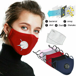 4 LAYER COTTON FACE MASK WITH FILTER AIR VALVE WASHABLE REUSABLE BREATHABLE