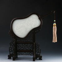 Chinese Fan-shaped Wood Inlay Afghanistan Jade Carved dragons play bead Screen