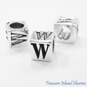 Letter W 925 Solid Sterling Silver Alphabet 7mm Block Bead 5mm Hole Diameter