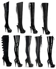 "Pleaser DELIGHT-3000 3010 3017 3019 3023 3092 sexy 6"" Heel Platform Thigh Boots"