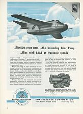 1951 Borg Warner Pump Ad Saab 29 Jet Fighter Swedish Sweden Pesco Aircraft