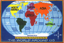 8x11  Area Rug  World  Map  Educational  Planet  Global  Kids & School Time NEW