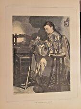 Pillow Lace Maker, Sewing, Cottage Industry, Vintage 1871 Antique Art Print