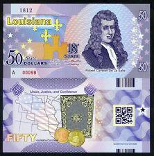 USA States, Louisiana, $50, Polymer, ND (2016), P-N/L, UNC R.C. De La Salle