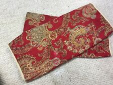 CHAPS King Size Pillow Shams Jute Edging Red Paisley Set Of 2 100% Cotton