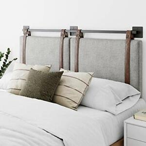 Nathan James Harlow Wall Mount Faux Leather or Fabric Upholstered Headboard A...