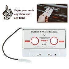 Bluetooth 4.0 Car Music Audio Receiver Cassette Mp3 Player Adapter Adaptor White