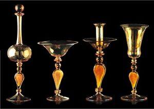 Candelero Botella Vaso E Copa Cristal de Murano Ámbar Auténtico