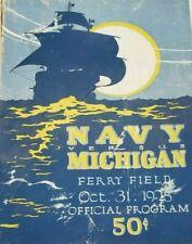 October 31,1925 UNIVERSITY OF MICHIGAN vs. NAVY FOOTBALL PROGRAM - ORIGINAL!