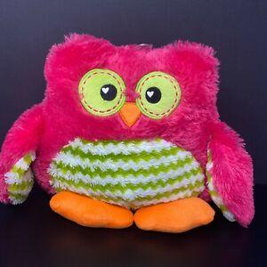 Dan Dee Owl Cuddle Snuggle Pillow Plush Pink Green Chevron Orange Fur FAST SHIP
