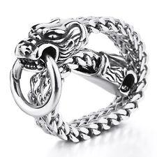 "MENDINO Men Stainless Steel Bracelet Double Dragon Head Franco Cuban Chain 8.5"""