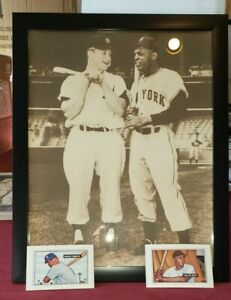 Baseball LOT Framed Willie Mays Mickey Mantle 11x14 Pic & 1989 Bowman Cards NEW?