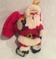 Completed 3D Needlepoint SANTA Christmas Ornament Cross Stitch Nice!