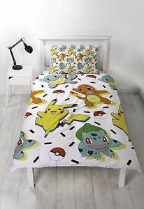 Pokemon Memphis Single Duvet Cover Bed Set Pikachu, Squirtle & Charmander