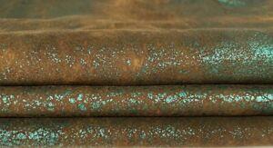 METALLIC TEAL GREEN CRACKLE vintage soft Lamb leather skins 10sqf 0.7mm #A7385