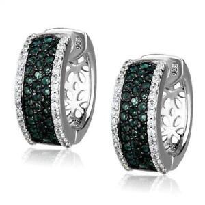 Ladies green earrings sterling silver huggy hoops green zircon stamped new TS53