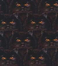 Black Cat Faces 100% cotton fabric Fat Quarter for face masks or crafts