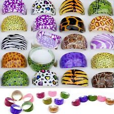 20pcs mixed Lucite animals skin design resin rings fashion Jewelry lot wholesale