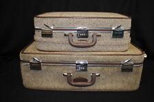 1960's 2 Vintage Skyway Brown Tweed Retro Suitcase Luggage Bags Combination Lock