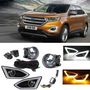 For Ford Edge 2015-2018 LED DRL Daytime Running Lamps + Fog Lights k Harness Kit