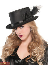 Ladies Black Top Hat Victorian Vampire Halloween Fancy Dress Costume Accesory
