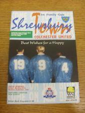 03/01/1994 Shrewsbury Town v Colchester United  . Bobfrankandelvis the sellers o