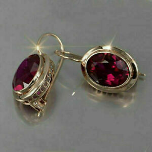 14K YELLOW GOLD PLATED BEZEL SET ENGAGEMENT WEDDING HUGGIE EARRING'S 3.66CT RUBY