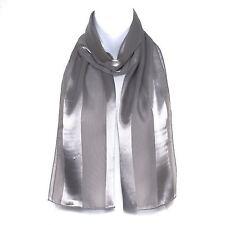 Chiffon Satin Plain Striped Elegant Ladies Scarf