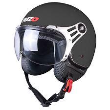 Tuzo Aviator Open Face Motorcycle Crash Helmet Matt Black Medium