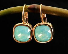 Yellow Gold 24K Plated Dangle Earrings Set w Green Crystals Square Shape
