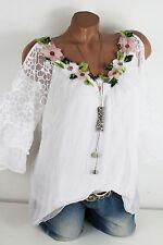 38 40 Traumhafte Bluse mit offener Schulter Blüten Volant 40 % Seide Weiß