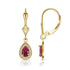 1.65CT Pear Shape Red Ruby Halo Tear Drop Dangle Earrings 14K Solid Gold