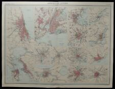 Vintage Map: United States American Cities by John Bartholomew, Times Atlas 1922