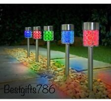NEW SOLAR POWER 5 PACK DALLAS MULTI COLOUR CHANGING POSTS LIGHTS