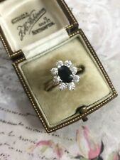 Vintage 9ct Yellow Gold Sapphire & Cubic Zirconia Cluster Dress Ring Size N1/2