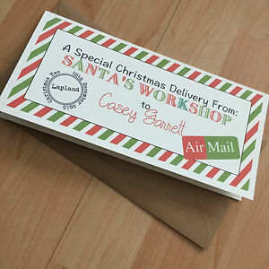 Personalised vintage/retro Christmas Money/gift Voucher Wallet Santas workshop