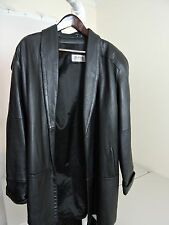 d Linea Collection 100% Leather Black Lined Opened Trench Coat - Size - Medium